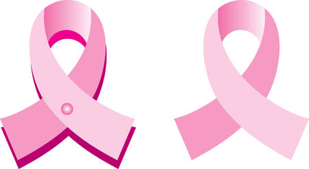 Illustration for Breast Cancer awareness month. One with pin and shadow and other without. Illustration