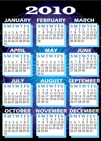すべての 12 ヶ月と 2010 年カレンダーのイラスト。 写真素材 - 5678992