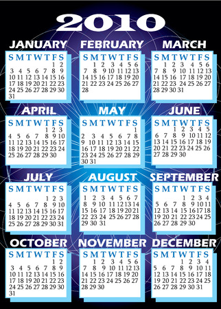 mon 12: Illustration of 2010 Calendar with all 12 months.