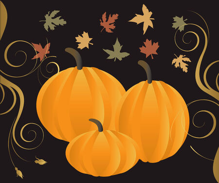 Illustration for Fall Autumn Leaves and Pumpkins with decorative scroll. Stock Vector - 5679006