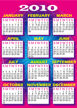 すべての 12 ヶ月と 2010 年カレンダーのイラスト。 写真素材 - 5707791