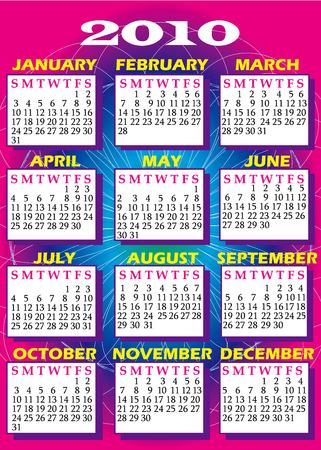 calandar: Illustration of 2010 Calendar with all 12 months.