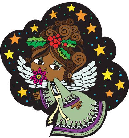 Weihnachtskarte mit Angel Standard-Bild - 5707788