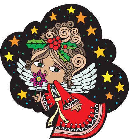 Kerst kaart met Angel  Stock Illustratie