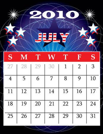 Illustration of 2010 Calendar Vector