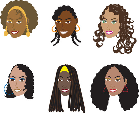 pelo ondulado: Conjunto de ilustraci�n de 6 estilos de cabello natural y real para las mujeres con cabello rizado, ensortijado o ondulado de vectores. Tambi�n disponible en estilos rectos o tejidos y pelucas.