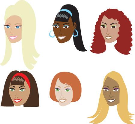 Vector Illustration Set 6 Arten von Haar-Erweiterungen wie Webarten und Perücken auf eine vielfältige Reihe von Frauen. Auch erhältlich in gerade Stilen oder natürlicher afro-amerikanischen und reale Frisuren. Standard-Bild - 5768448