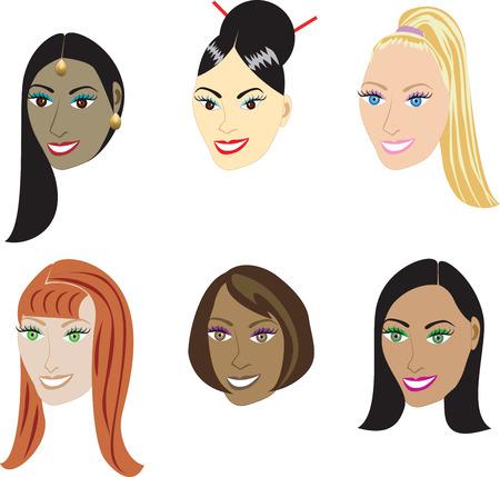human skin texture: Illustrazione Vettoriale set di 6 tipi di stili dritto su una serie diversificata di donne. Disponibile anche nelle estensioni dei capelli, come tesse e parrucche o acconciature afro-americano naturale e reale. Vettoriali