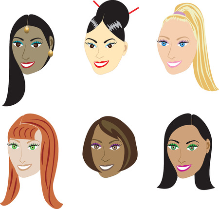 Vector Illustration set of 6 types of straight styles on a diverse set of women. Also available in hair extentions such as weaves and wigs or natural African-American and real hair styles. Çizim