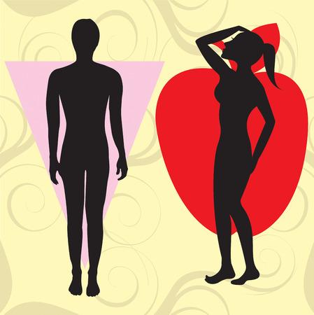 Vector illustratie van het vrouwelijk lichaam vorm appel ook bekend als kegel. Shape met bredere bovenste orgaan en hips te beperken.