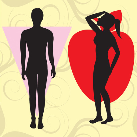 african american silhouette: Vector Illustration of female body shape apple also known as cone. Shape with wider upper body and narrow hips.