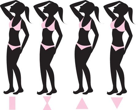 two piece bathing suit: Ilustraci�n vectorial de cuatro tipos b�sicos de cuerpo femenino con trajes de ba�o bikini rosa ilustrados sobre siluetas con las formas del cuerpo m�s abajo.