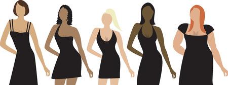 Vijf vrouwen in verschillende vormen, maten en etnische groepen met zwarte jurk. Voor een uitnodiging, de diversiteit of het formaat kan worden gebruikt.  Stock Illustratie