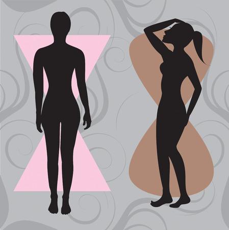 body shape: Illustrazione vettoriale della forma del corpo femminile clessidra. La forma con curve equilibrati.