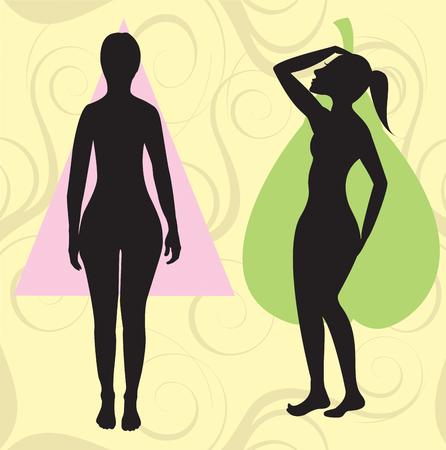 body shape: Illustrazione vettoriale del corpo femminile forma Pera noto anche come campana, triangolo e cucchiaio. La forma con con curve pi� grande area anca.