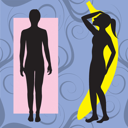 Vector Illustration of female body shape banana also known as ruler. Shape with few curves.