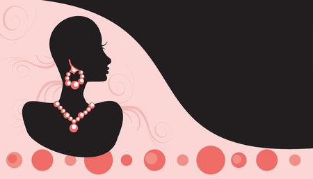 귀걸이: Vector Illustration Business Card for jewelry or beauty. Very Easy to edit, no gradients, no strokes.