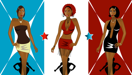 Set of 3 Women going to Nightclub Fashionably. See my other Illustrations! Vettoriali