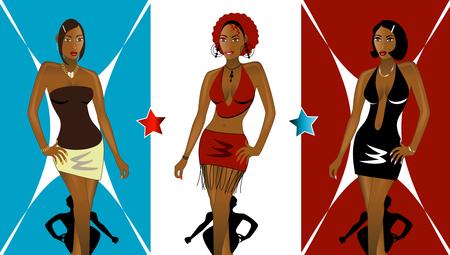 fashionably: Set of 3 Women going to Nightclub Fashionably. See my other Illustrations! Illustration