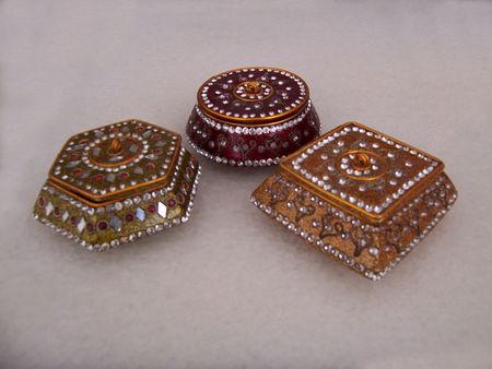 Decorative Metallic glitter Gift or jewelry boxes, Indian style.