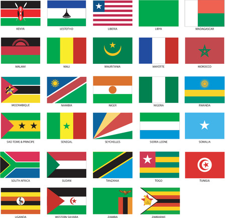29 African Flags 2 Vector Illustration of the Flags of different countries of the world. They are organized by location then in alphabetical in order. Dozens of flags in each file and hundreds all together.