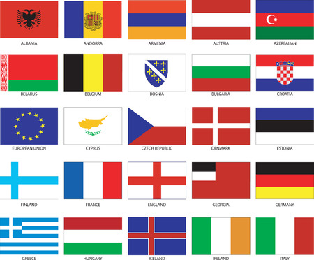 Vector Illustration of the Flags of different countries of the world. They are organized by location then in alphabetical in order. Dozens of flags in each file and hundreds all together.