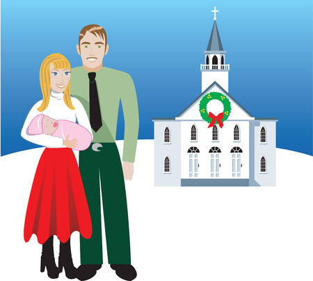Vector Illustration of Family number 4. A family of 3 in front of church during Christmas time. Has room for message or text.