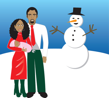 Vector Illustration of Family number 5. A family of 3 in front of snowman during Christmas time. Has space for a message.  Vector