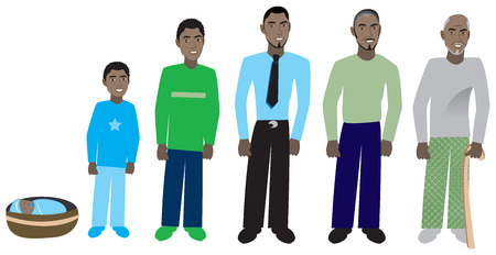 Male age progression, available for females and in different skin tones. Six different ages. Vector Illustration.