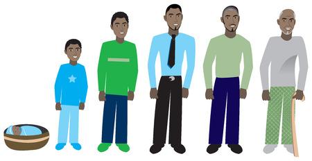 Mannelijke leeftijd progressie, beschikbaar voor vrouwen en in verschillende huidtinten. Zes verschillende leeftijden. Vectorillustratie.
