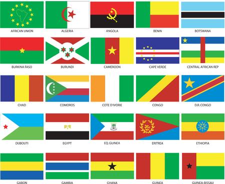 flag of egypt: Ilustraci�n vectorial de las banderas de diferentes pa�ses del mundo. Est�n organizados por ubicaci�n y luego en alfab�tico en orden. Docenas de indicadores en cada archivo y cientos todos juntos.