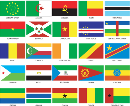 Vector Illustration of the Flags of different countries of the world. They are organized by location then in alphabetical in order. Dozens of flags in each file and hundreds all together. Vector