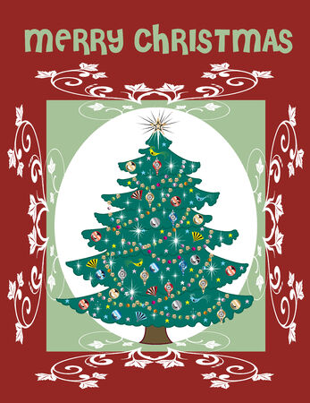 Illustration of a Christmas Tree Card Vector