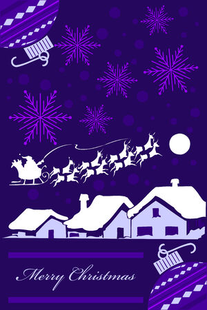 Vertical Christmas card design in purple tones.