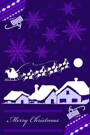 Vertical Christmas card design in purple tones. Vector
