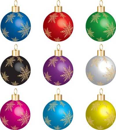 christmas icon: Set of 9 christmas ornaments with gold snowflakes. Stock Photo