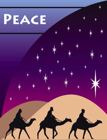 3 Wise men kings in Bethlehem on Crhristmas Day. Vector
