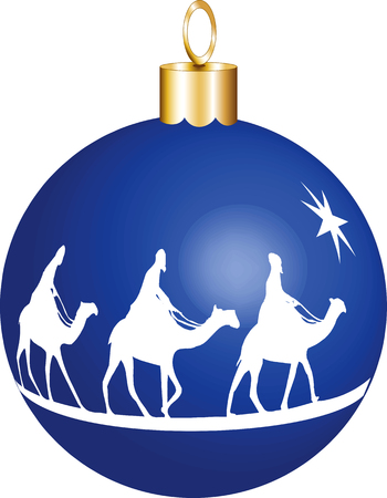 baby jesus: Three wise men on camels going to see baby Jesus displayed on a christmas ornament.
