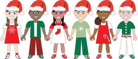 Illustration of 6 children dressed for the holidays.