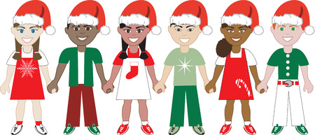 Illustration of 6 children dressed for the holidays. Vector