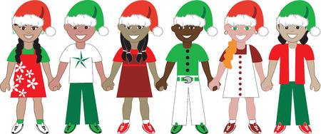 Illustration of 6 children dressed for the holidays.