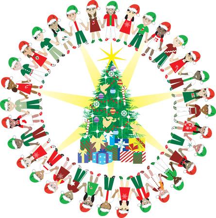 아이들이 크리스마스 세계 2 사랑. 32 다른 크리스마스 트리 주위 다른 나라를 대표하는 어린이. 스톡 콘텐츠 - 5974054