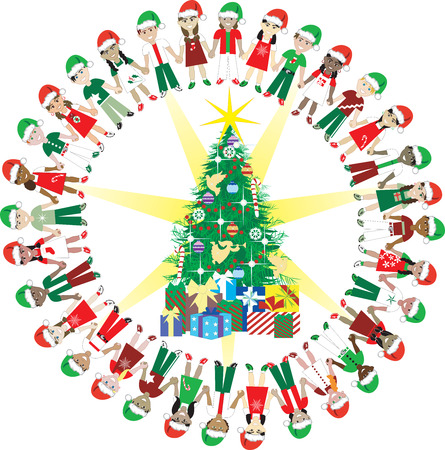 hands holding tree: Kids Love Christmas World 2. 32 Different Children representing different countries around the Christmas Tree. Illustration