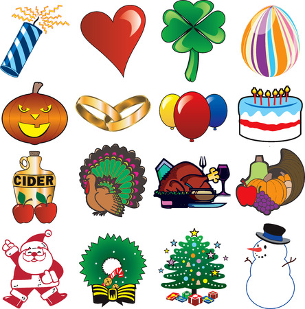 holiday: holiday icon set 3. 16 vector holiday icons