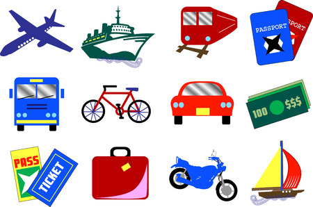 Twelve vector travel icons, also available as buttons. Vector