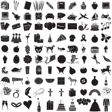 Ilustración de 100 iconos objetos de vectores con contornos. Todo de vacaciones a los suministros.