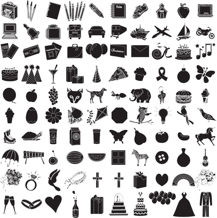 Vector Illustration of 100 Icon Objects with outlines. Everything from holiday to supplies.  Vector