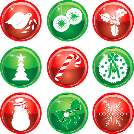 Set of nine Christmas or Holiday Icon Buttons. Vector Illustration.