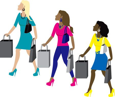Three women shopping with bags dressed fashionably. Vector