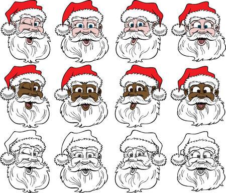 12 Santa Faces, Vector Illustration.
